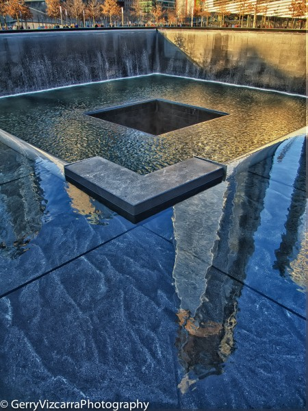 Freedom Tower Reflection on North Pool 9/11 Memorial