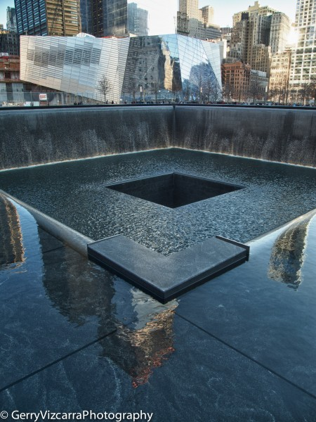 Freedom Tower Reflection on South Pool 9/11 Memorial